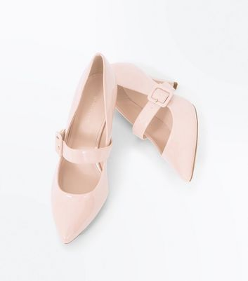 Nude Patent Buckle Strap Pointed Courts New Look