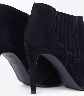 Black Suede Pointed Western Shoe Boots New Look