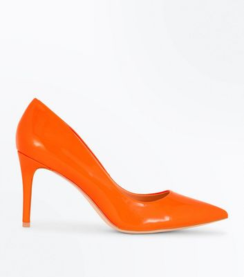 Bright Orange Patent Pointed Court Shoes New Look