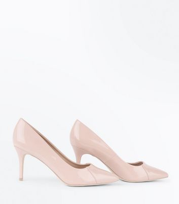 Nude Patent Seam Side Pointed Court Shoes New Look