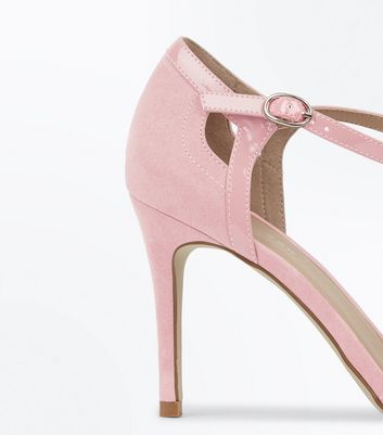 Pink Suedette Patent Trim Pointed Heels New Look