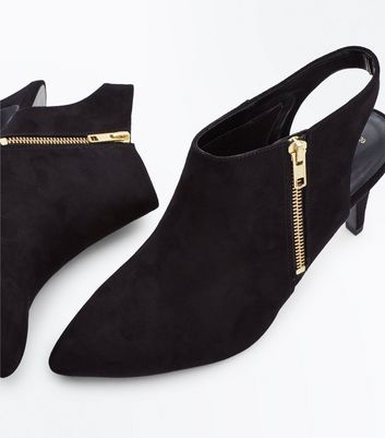 Black Suedette Zip Side Pointed Shoe Boots New Look