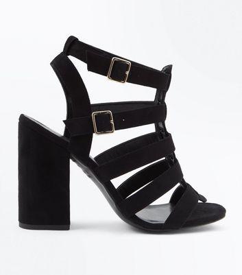 Black Suedette Block Heel Gladiator