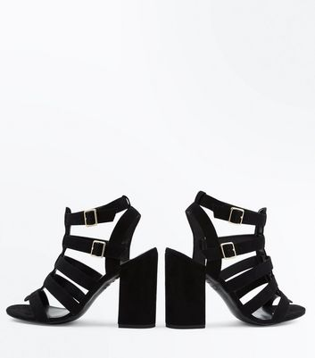 Black Suedette Block Heel Gladiator Sandals New Look