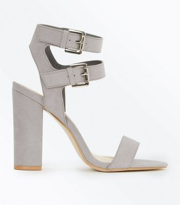 Grey Suedette Double Ankle Strap Heeled Sandals New Look