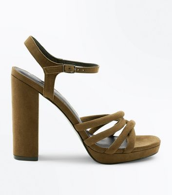 Khaki Suedette Tube Strap Platform Heeled Sandals New Look