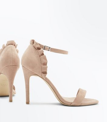 Nude Suedette Frill Back Stiletto Heel Sandals New Look