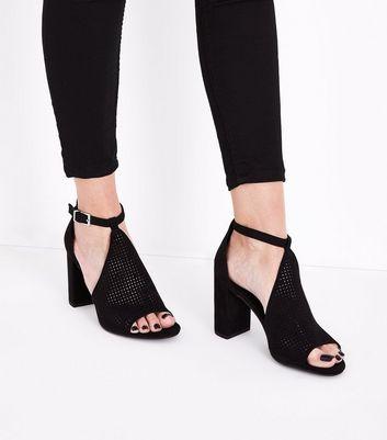 Black Suedette Perforated Block Heel Sandals New Look