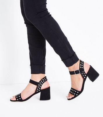 Black Suedette Stud Block Heel Sandals New Look