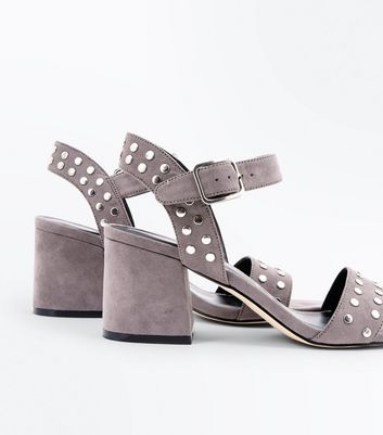 Grey Suedette Stud Block Heel Sandals New Look