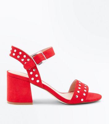 Red Suedette Stud Block Heel Sandals New Look