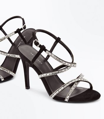 Black Suedette Diamante Studded Strappy Sandals New Look