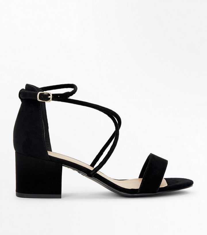 ebfd21f1a Black Suedette Strappy Low Block Heel Sandals | New Look