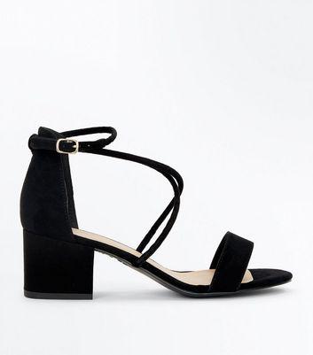 ab63a4706de Black suedette strappy low block heel sandals new look jpg 720x817 Black  low heel sandals