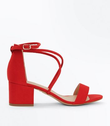 Sandales en suédine rouge à petits talons blocs à brides et lanières New Look