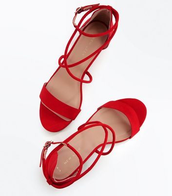 Red Suedette Strappy Low Block Heel Sandals New Look