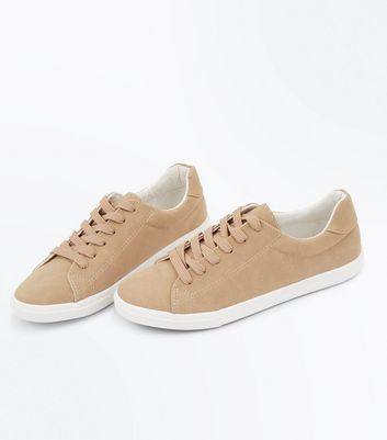 Camel Suedette Lace Up Trainers New Look