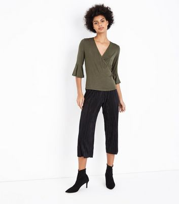 Khaki Bell Sleeve Wrap Front Top New Look