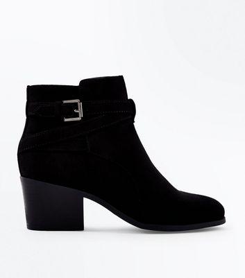 Teens Black Buckle Suedette Block Heels New Look
