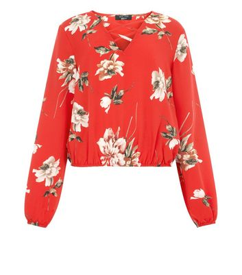 Teens Red Floral Lattice Front Top New Look