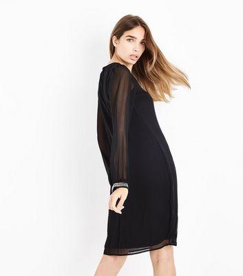 Mela Black Embellished Cuff Dress New Look