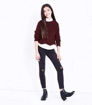 Teens Black Knee Ripped Skinny Jeans New Look