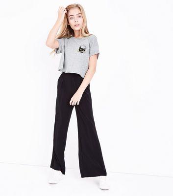 Teens Grey Cat Planet Slogan T-Shirt New Look