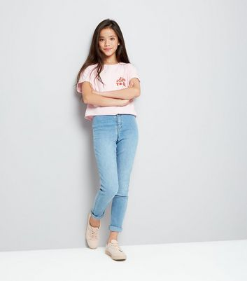 Teens Pink New York Cherry Cropped T-Shirt New Look