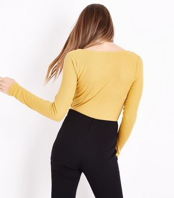 Mustard Yellow Ruched Front Long Sleeve Top New Look