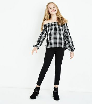 Teens Black Check Print Bardot Neck Top New Look