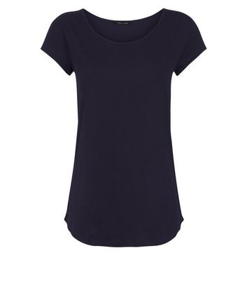 Black Scoop Neck T-Shirt New Look
