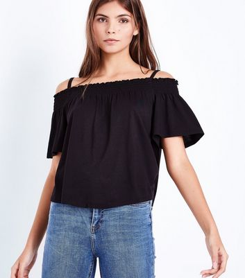 Black Shirred Cold Shoulder Top New Look