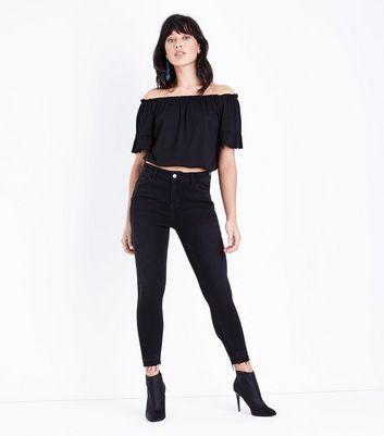 Black Gathered Bardot Neck T-Shirt New Look