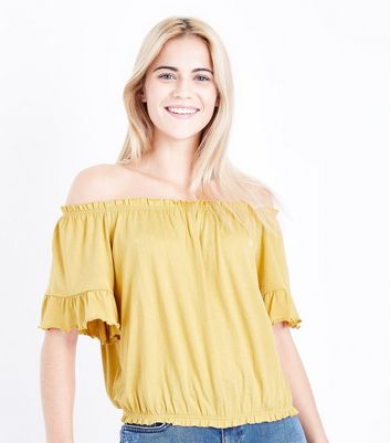 Yellow Gathered Bardot Neck T-Shirt New Look