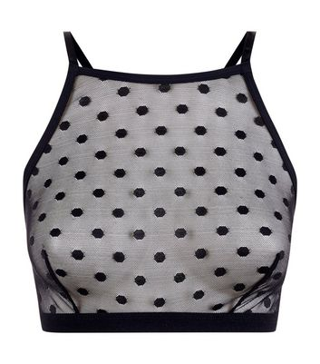 Black Spot Mesh High Neck Bralet New Look