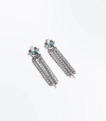 Silver Stone Embellished Tassel Earrings New Look