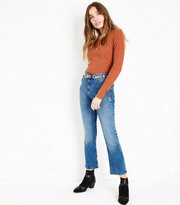 Rust Ribbed Long Sleeve Top New Look