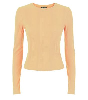 Mustard Yellow Ribbed Long Sleeve Top New Look