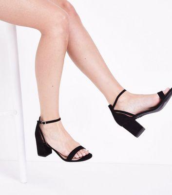 Comfort Flex Sandales en suédine noire à talons bloc | New