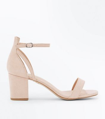 Nude Comfort Flex Suedette Block Heel Sandals New Look