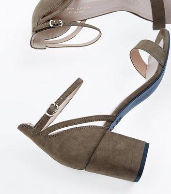 Khaki Comfort Flex Suedette Block Heel Sandals New Look