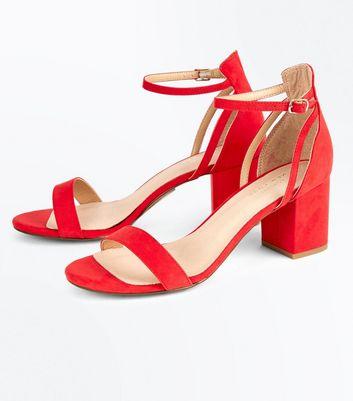 Red Comfort Flex Suedette Block Heel Sandals New Look