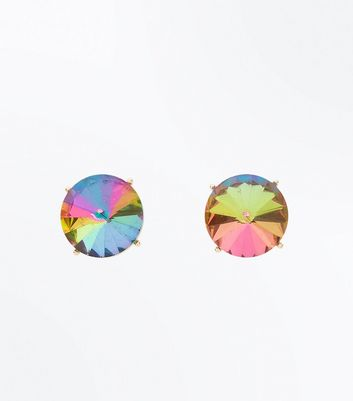 Multi Colour Stone Embellished Stud Earrings New Look