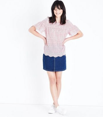 Red Stripe Broderie Smock Top New Look