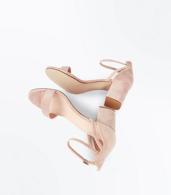 Nude Comfort Flex Velvet Block Heel Sandals New Look
