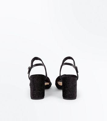 Black Comfort Flex Velvet Glitter Block Heel Sandals New Look