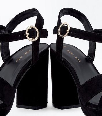 Black Suedette Cross Strap Circle Buckle Heels New Look