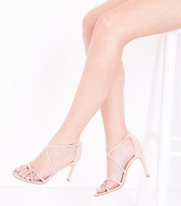 Nude Suedette Strappy Stiletto Sandals New Look