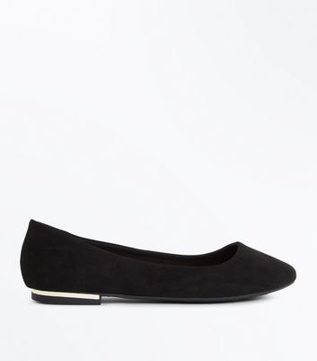 Wide Fit Black Suedette Metal Heel Pumps