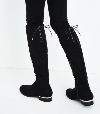 Teens Black Suedette Lace Up Back Over Knee Boots New Look